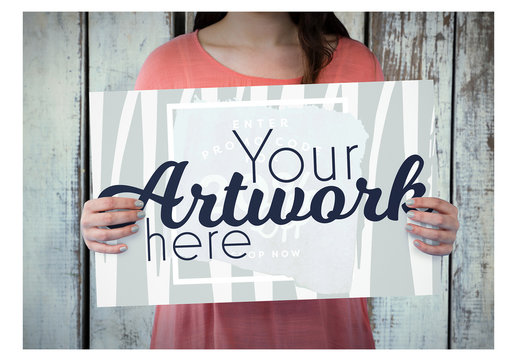 Fashionable Woman Holding a Sign Mockup