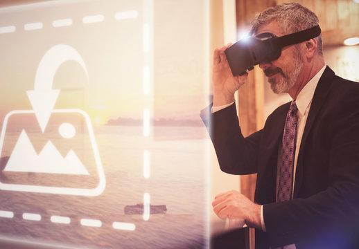 Senior VR User in Business Suit Mockup