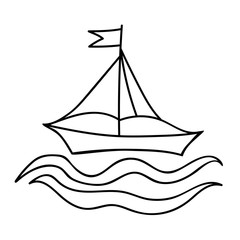 Black line ship for coloring book and other child design