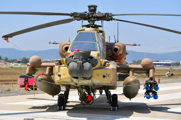 Military helicopter during Israeli 69st independent day exhibition