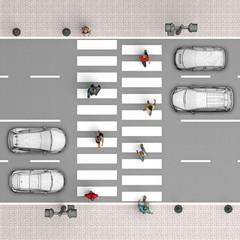 pedestrian crossing. Top view