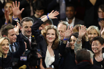 Nathalie Kosciusko-Morizet , conservative UMP political party candidate for the mayoral election in Paris, surrounded by fans waves at the end of her campaign rally at the Cirque d'Hiver in Paris