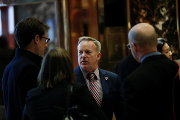 Sean Spicer, Press Secretary to U.S. President-elect Trump, greets representatives of the White House Correspondents Association in the lobby of Trump Tower ahead of their scheduled meeting in New York