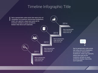 Timeline infographic business template on dark background