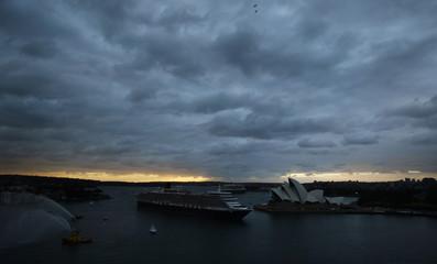 Cruise liner Queen Elizabeth travels through Sydney Harbour