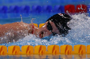 Ledecky of the U.S.compete to win the women's 400m freestyle final during the World Swimming Championships at the Sant Jordi arena in Barcelona