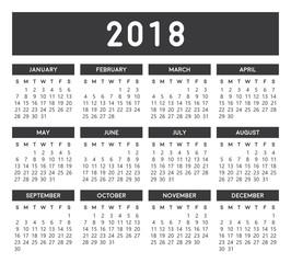 Calendar 2018 Gray
