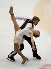 Kristina Astakhova and Alexei Rogonov of Russia perform at pairs short program during China ISU Grand Prix of Figure Skating in Beijing