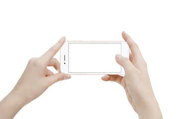 Isolated female hands with modern phone in position for taking picture