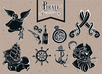 Hand drawing icons set and silhouette pirate adventure