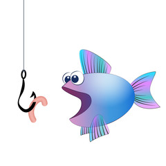 Fish hook with angling worm and a hungry fish - isolated vector comic illustration on white background.
