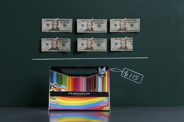 A box of 36 coloured pencils as photographed with an illustrative price tag of $115 in Caracas