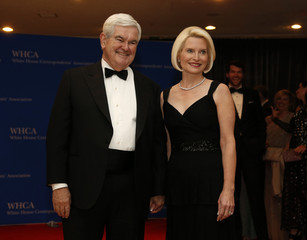 Political consultant and former Speaker of the House of Representatives Gingrich and his wife Callista arrive for the annual White House Correspondents' Association dinner in Washington