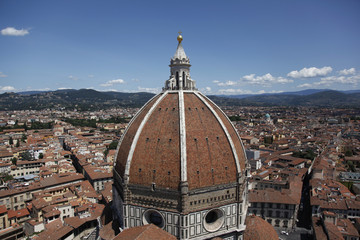 The dome of the Basilica di Santa Maria del Fiore is seen from Giotto's bell tower in Florence