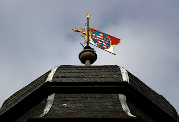 The code of arms of the Earl of Hesse is photographed on top of the Wolfsgarten (wolves' garden) castle in Langen near Frankfurt