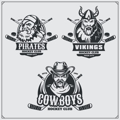 Hockey badges, labels and design elements. Sport club emblems with pirate,cowboy and viking.