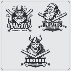 Baseball badges, labels and design elements. Sport club emblems with viking, pirate, and cowboy.