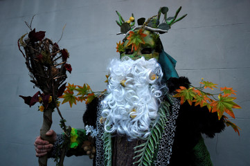 Phil McSweeney poses for a photograph in Wren costume during an Irish tradition of Hunting of the Wren festival held every St. Stephen's Day in Dingle