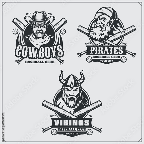 Baseball badges, labels and design elements. Sport club emblems with ...