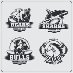 Football badges, labels and design elements. Sport club emblems with bear, shark, bull and horse.
