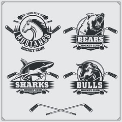Hockey badges, labels and design elements. Sport club emblems with bear, shark, bull and horse.