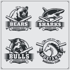 Baseball badges, labels and design elements. Sport club emblems with bear, shark, bull and horse.