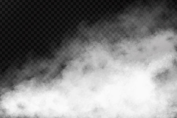 Vector realistic isolated smoke effect on the transparent background. Realistic fog or cloud for decoration.