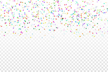 Vector realistic colorful star confetti on the transparent background. Concept of happy birthday, party and holidays.