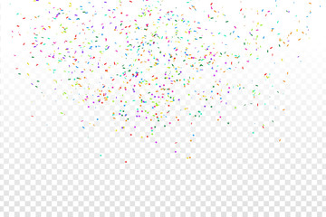 Vector realistic colorful confetti on the transparent background. Concept of happy birthday, party and holidays.