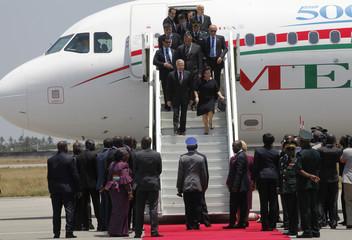 Lebanon's President Michel Suleiman arrives at the Felix Houphouet Boigny international airport in Abidjan
