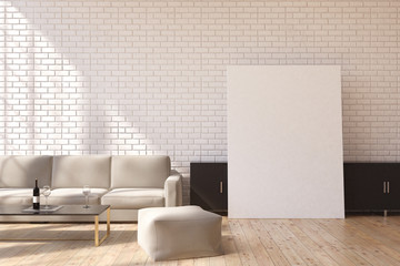Gray sofa and poster