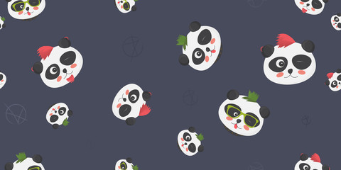 Punk Pandas vector seamless pattern: cute panda bear faces with punk haircuts and anarchy symbol on a dark blue background. Great as textile or fabric print, cover or wrapping template, wallpaper, etc