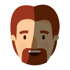 color image shading caricature front view bearded man with redhead hairstyle vector illustration