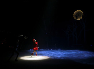 "Artist Ruiz del Pino performs during a press rehearsal of ""The spell of the Ice Garden"" by the Circo de Hielo (The Ice Circus) in Madrid"