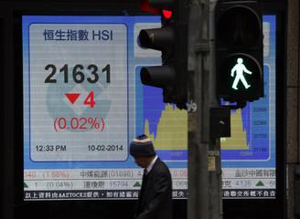 A man walks past a panel displaying half-day trading Hang Seng Index outside a bank in Hong Kong