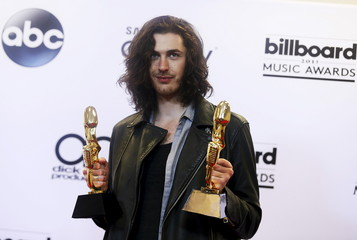 Hozier poses with his awards at the 2015 Billboard Music Awards in Las Vegas