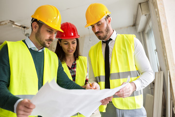 Group of architects working on a project