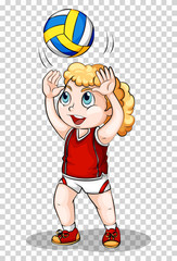 Girl playing volleyball on transparent background
