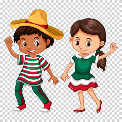 Mexican boy and girl on transparent background