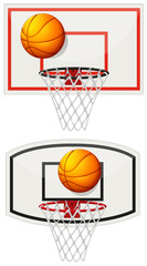 Basketball equipments with ball and net