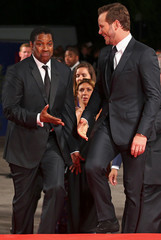 """Actors Denzel Washington and Chris Pratt arrive for the red carpet of the movie """"The Magnificent Seven"""" at the 73rd Venice Film Festival in Venice"""
