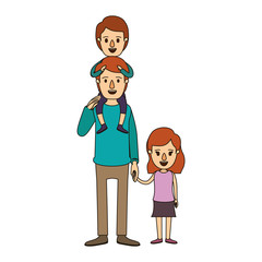 color image caricature dad with boy on his back and girl taken hands vector illustration