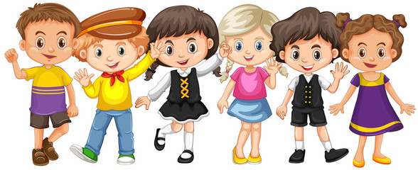 Many kids with happy face
