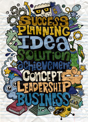 Hand drawing business word cloud concept  with cute monsters ,Fl