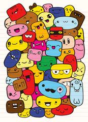 Funny cartoon faces. Vector clip art illustration
