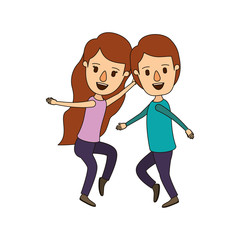 color image caricature full body couple dancing vector illustration