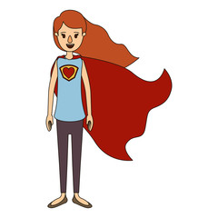 color image caricature full body super hero woman with wavy long hair and cap vector illustration