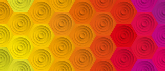 Volume realistic embossing texture, circles in honeycomb, colorful background, 3d geometric seamless pattern, design vector wallpaper