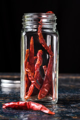 Dried Red Chili Peppers in a spice jar