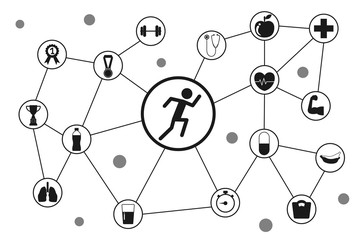Health and sport icon. running icon with about healthy vector illustration.